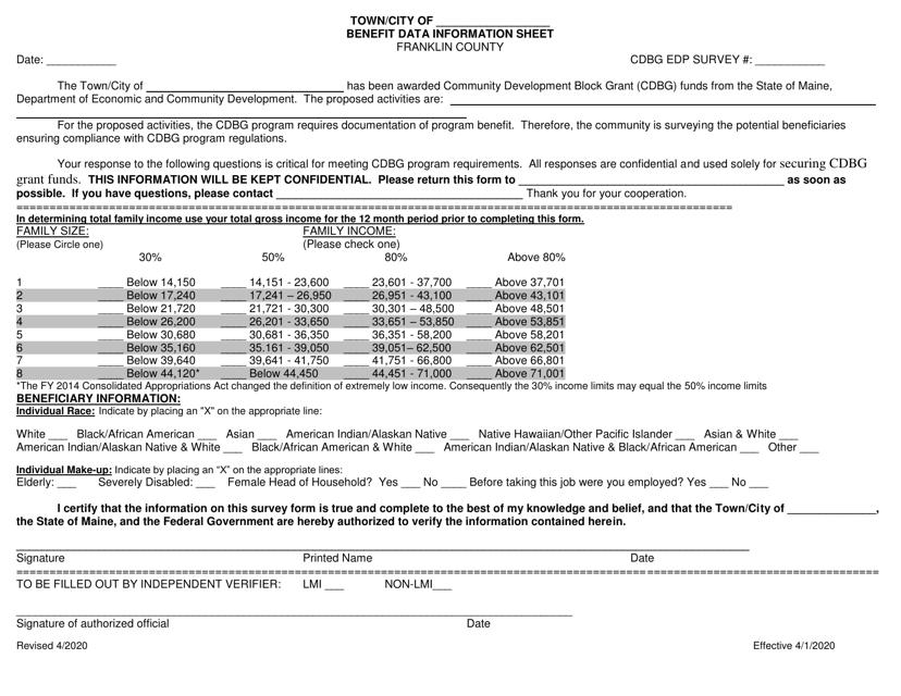 """Benefit Data Information Sheet - Edp"" - Franklin County, Maine Download Pdf"