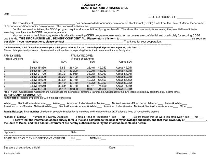 """Benefit Data Information Sheet"" - Kennebec County, Maine Download Pdf"