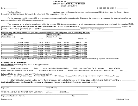 """""""Benefit Data Information Sheet"""" - Lincoln County, Maine Download Pdf"""