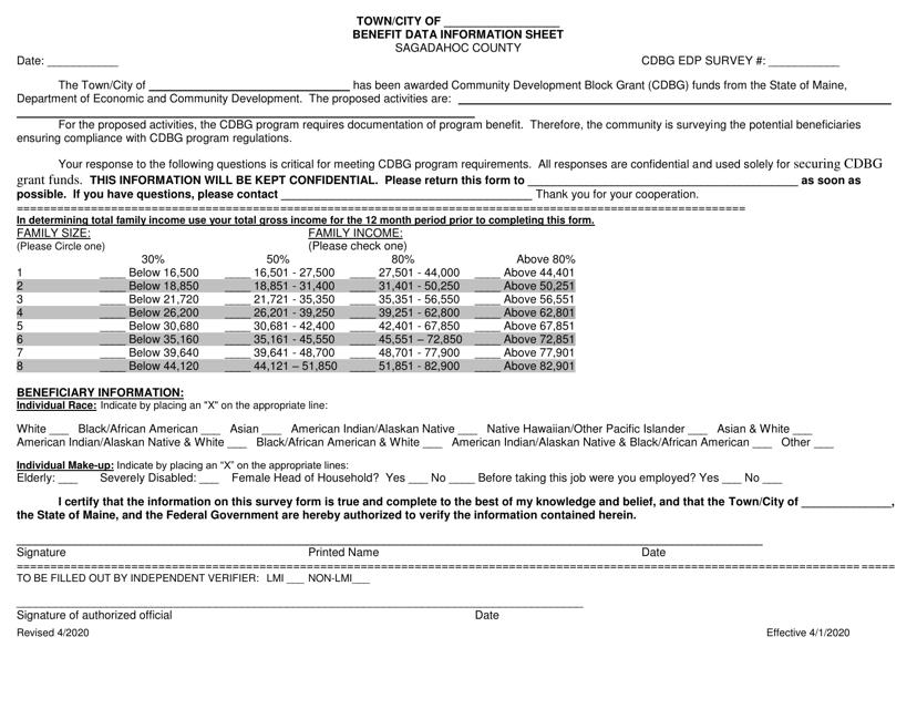 """Benefit Data Information Sheet"" - Sagadahoc County, Maine Download Pdf"