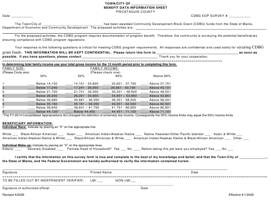 """""""Benefit Data Information Sheet"""" - Piscataquis County, Maine Download Pdf"""
