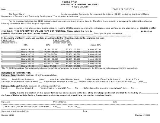 """Benefit Data Information Sheet"" - Waldo County, Maine Download Pdf"