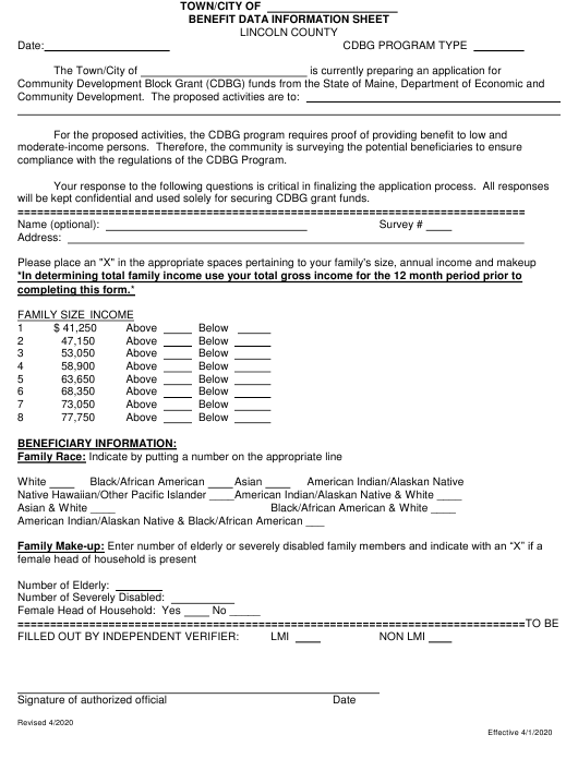 """Benefit Data Information Sheet"" - Lincoln County, Maine Download Pdf"