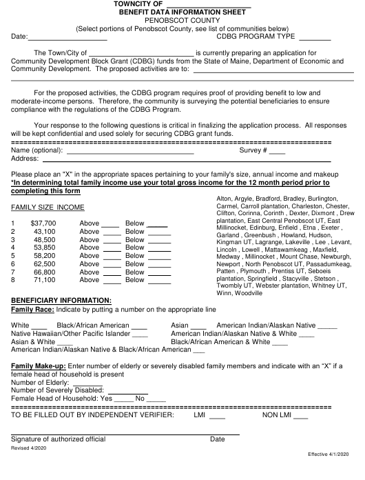 """Benefit Data Information Sheet"" - Penobscot County, Maine Download Pdf"