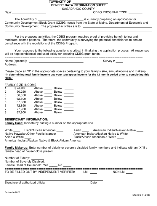 """Benefit Data Information Sheet"" - Sagadahoc County, Maine Download Pdf"