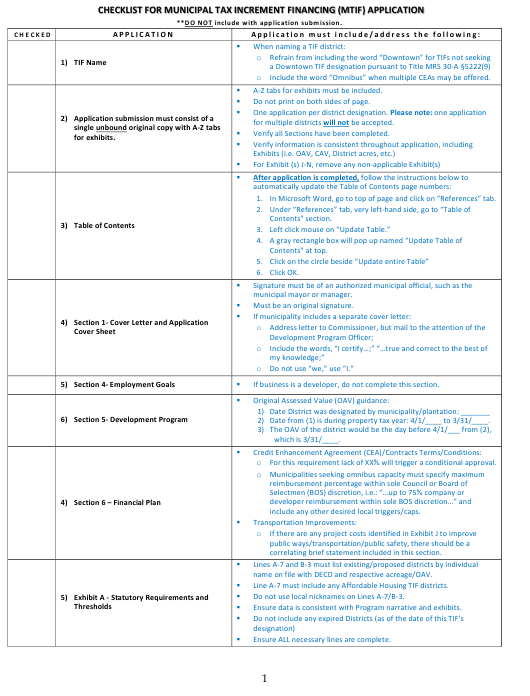 """""""Checklist for Municipal Tax Increment Financing (Mtif) Application"""" - Maine Download Pdf"""