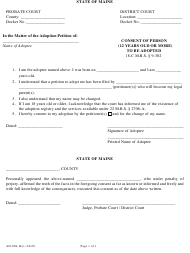 """Form AD-004 """"Consent of Person (12 Years Old or More) to Be Adopted"""" - Maine"""