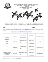 """Migratory Game Bird Collector Stamp Order Form"" - Maryland, 2021"