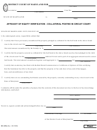 """Form DC-056 """"Affidavit of Equity Verification - Collateral Posted in Circuit Court"""" - Maryland"""