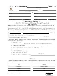 """Form CC-DR-056 """"Affidavit of Service (Certified Mail Restricted Delivery - Receipt Requested)"""" - Maryland"""
