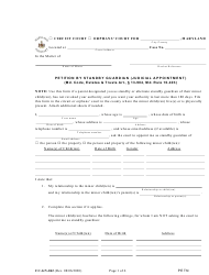 """Form CC-GN-042 """"Petition by Standby Guardian (Judicial Appointment)"""" - Maryland"""