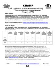 """""""Application for State-Aided Public Housing and the Alternative Housing Voucher Program (Ahvp)"""" - Massachusetts"""