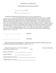 """Inmate's Affidavit of Indigency"" - Massachusetts"
