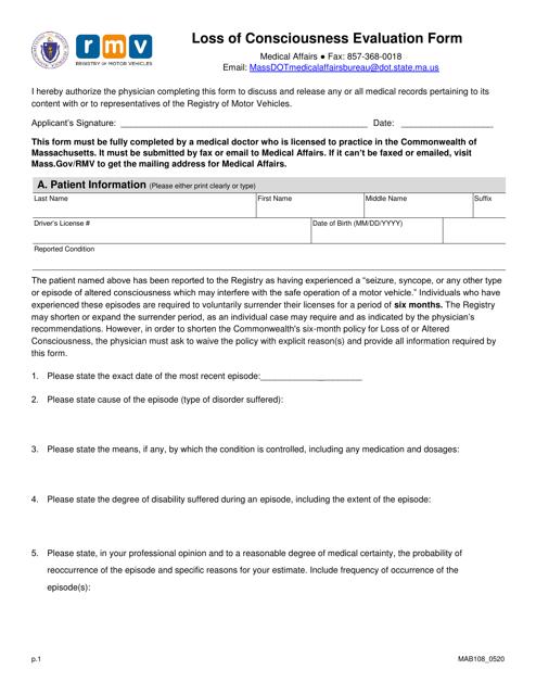 Form MAB108 Printable Pdf
