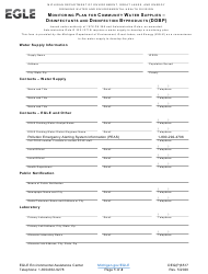 "Form DEQ(P)6517 ""Monitoring Plan for Community Water Supplies - Disinfectants and Disinfection Byproducts (Ddbp)"" - Michigan"