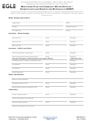 "Form DEQ(E)6517 ""Monitoring Plan for Community Water Supplies - Disinfectants and Disinfection Byproducts (Ddbp)"" - Michigan"