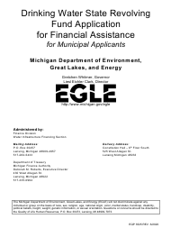 "Form EQP3525 ""Drinking Water State Revolving Fund Application for Financial Assistance for Minicipal Applicants"" - Michigan"
