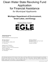 "Form EQP3524 Part I ""Clean Water State Revolving Fund Application for Financial Assistance for Municipal Applicants"" - Michigan"