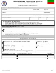 "Form BDVR-153 ""Record Request for Account Holders"" - Michigan"