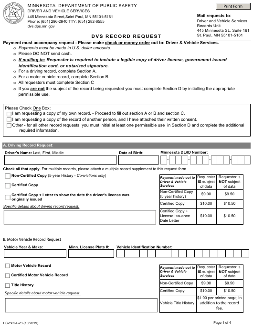 Form PS2502A  Printable Pdf