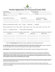 """""""Vendor Application for Processed Foods"""" - Mississippi, 2020"""