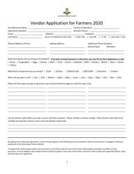 """Vendor Application for Farmers"" - Mississippi, 2020"