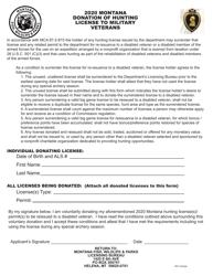 """Montana Donation of Hunting License to Military Veterans"" - Montana, 2020"