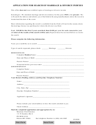 """""""Application for Search of Marriage & Divorce Indexes"""" - Montana"""