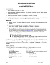 """Uniform Application for Individual Producer License/Registration - Resident"" - Nebraska"