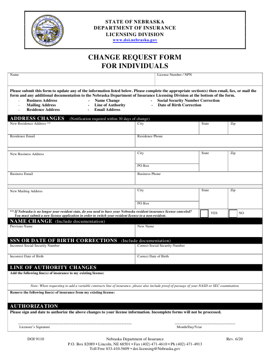 Form DOI9110 Printable Pdf
