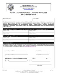 "Form DOI-9002A ""Designated Responsible Licensed Producer Amendment Form"" - Nebraska"