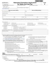 "Form 4 ""Nebraska Exemption Application for Sales and Use Tax"" - Nebraska"