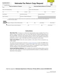 """Form 23 """"Nebraska Tax Return Copy Request"""" - Nebraska"""
