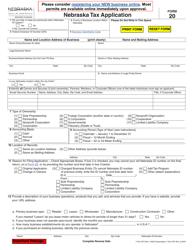 """Form 20 """"Nebraska Tax Application"""" - Nebraska"""