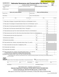 """Form 61 """"Nebraska Severance and Conservation Tax Return"""" - Nebraska"""