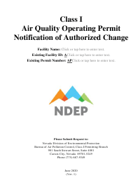 """""""Class I Air Quality Operating Permit Notification of Authorized Change"""" - Nevada"""