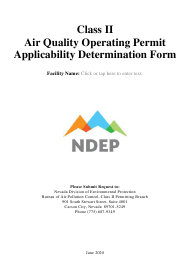 """""""Class Ii Air Quality Operating Permit Applicability Determination Form"""" - Nevada"""