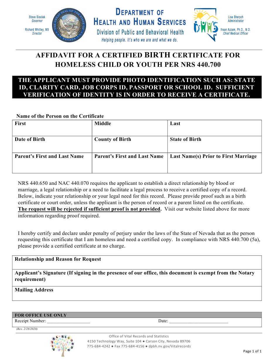 birth certificate nevada affidavit nrs templateroller homeless certified youth per child