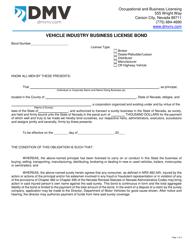 "Form OBL210 ""Vehicle Industry Business License Bond"" - Nevada"