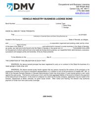 "Form OBL269 ""Vehicle Industry Business License Bond"" - Nevada"