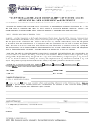 "Form 0505RCCD-019 ""Volunteer and Employee Criminal History System (Vechs) Applicant Waiver Agreement and Statement"" - Nevada"