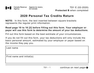 "Form TD1 ""Personal Tax Credits Return (Large Print)"" - Canada, 2020"