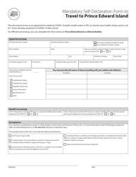 """Mandatory Self-declaration Form to Travel to Prince Edward Island"" - Prince Edward Island, Canada"