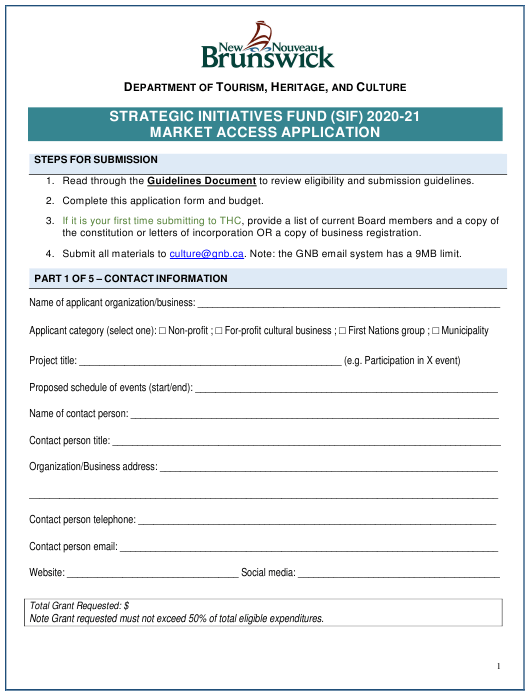 """Strategic Initiatives Fund (Sif) Market Access Application"" - New Brunswick, Canada Download Pdf"