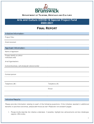 """""""Arts and Culture Covid-19 Special Project Fund Final Report"""" - New Brunswick, Canada, 2021"""