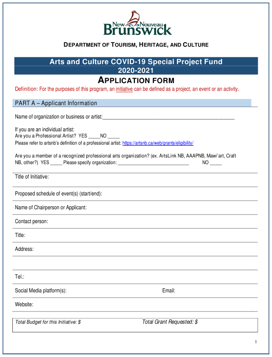 """Arts and Culture Covid-19 Special Project Fund Application Form"" - New Brunswick, Canada Download Pdf"