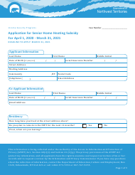 """Application for Senior Home Heating Subsidy"" - Northwest Territories, Canada, 2021"