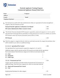 """Commercial Pesticide Applicator Manual Order Form"" - New Hampshire"