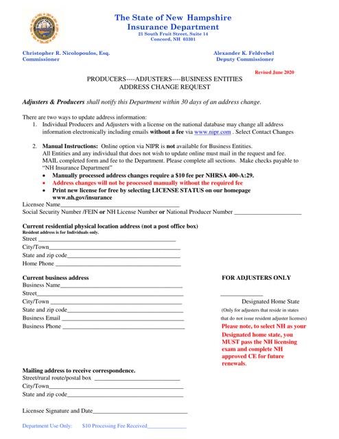 """Address Change Request"" - New Hampshire Download Pdf"
