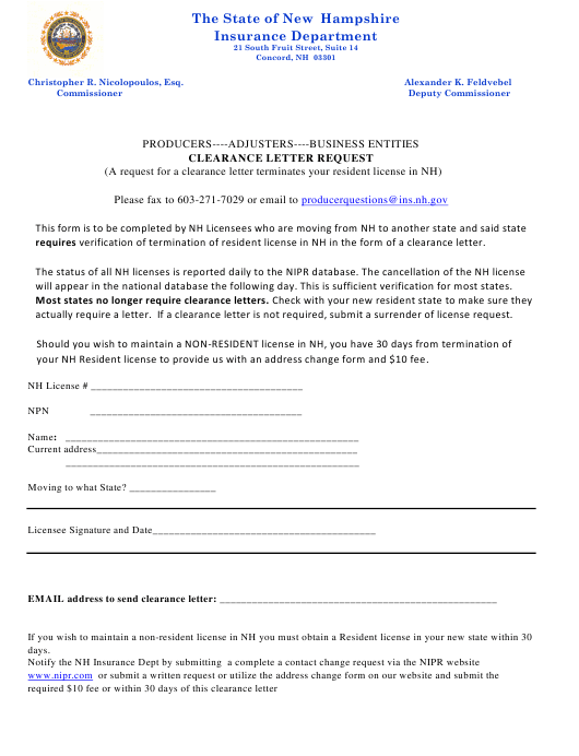 """""""Clearance Letter Request"""" - New Hampshire Download Pdf"""